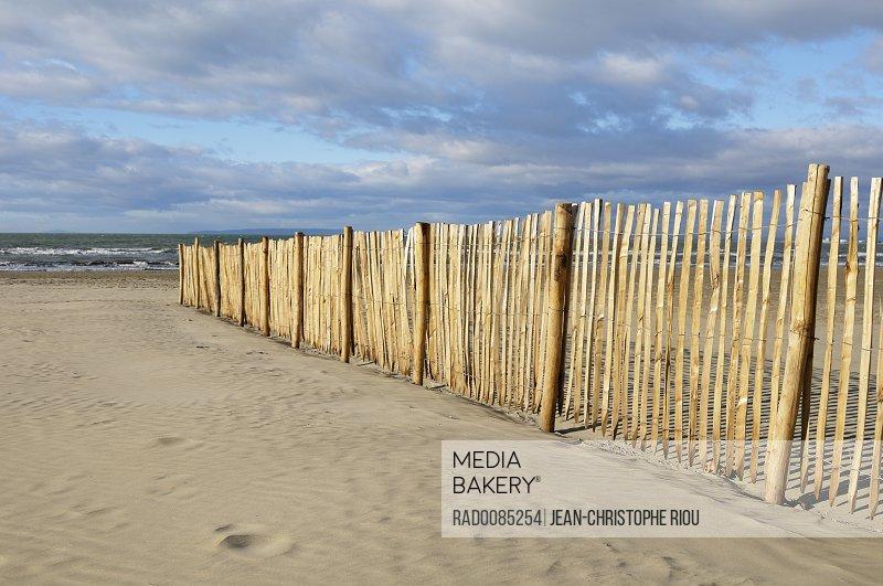 Sand Fence on Beach, Le Grau du Roi, Gard, France