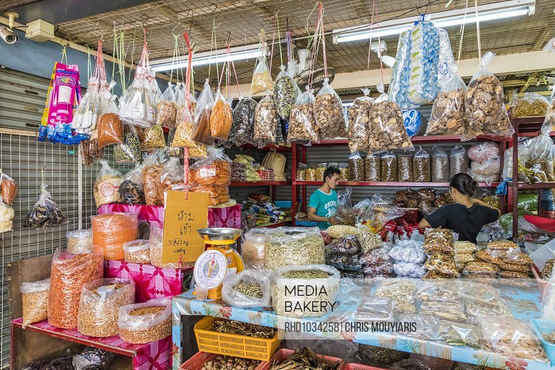 Spices for sale at the indoor market in Phuket old town, Phuket, Thailand, Southeast Asia, Asia<br><br><span style='color: red'>Editorial Use Only.</span><br><br>