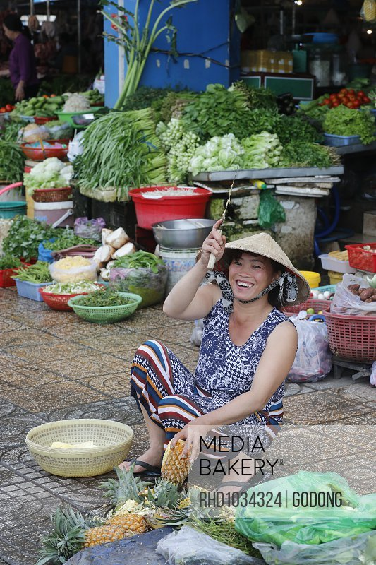 Traditional market vegetables shop, Ha Tien, Vietnam, Indochina, Southeast Asia, Asia<br><br><span style='color: red'>Editorial Use Only.</span><br><br>