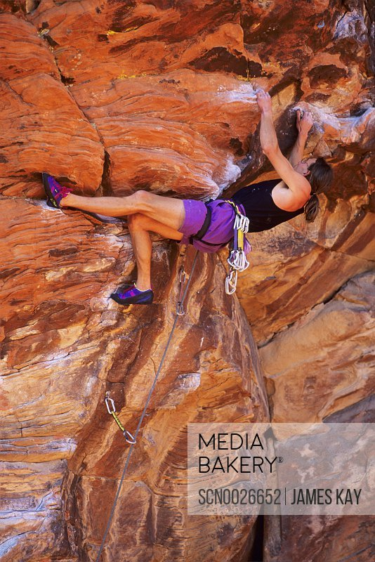 Rock climber at Redrocks, Las Vegas, Nevada.