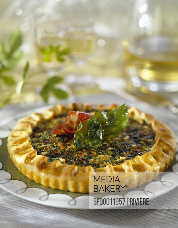 Grisons meat,basil and pine nut pie