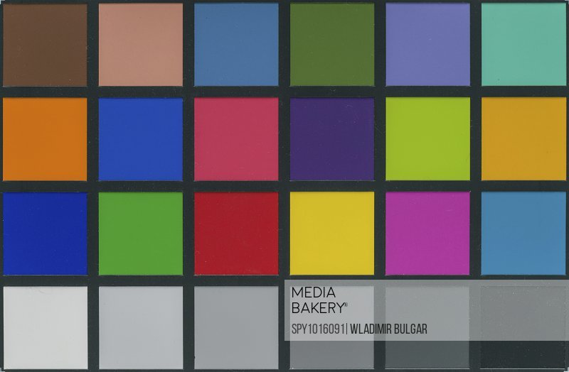 Colour calibration chart for photography