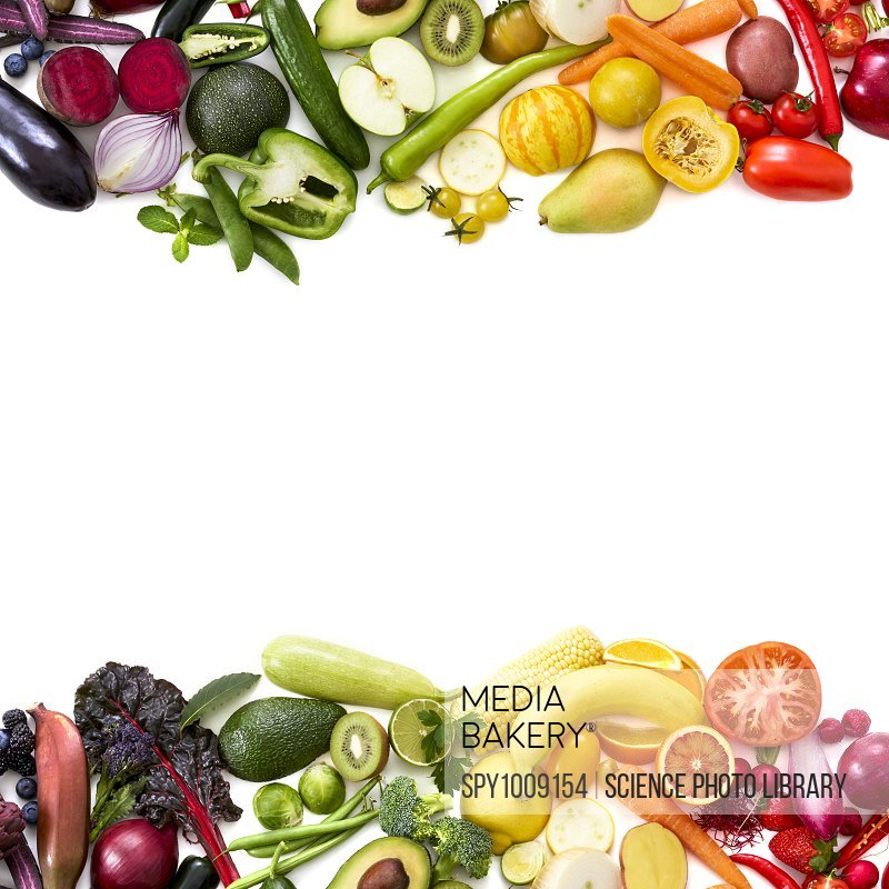 Colourful fresh produce against a white background.