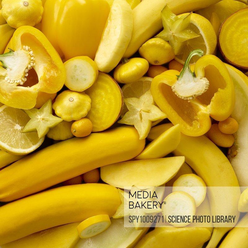 Fresh yellow produce, full frame.