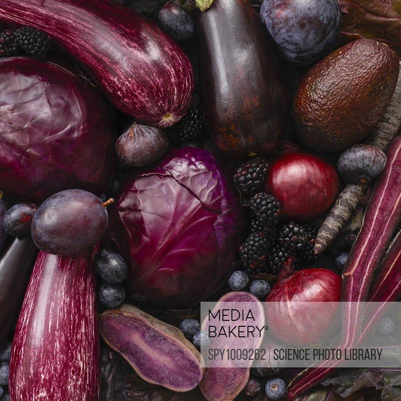 Fresh purple produce, full frame.
