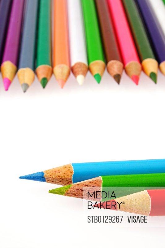 Close up of colour pencils