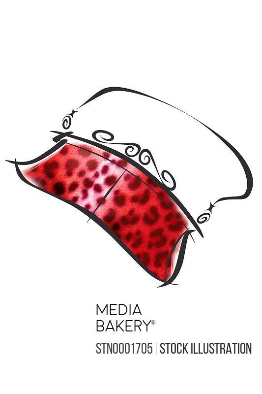 Red purse with leopard print