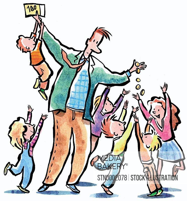 Children taking money from man