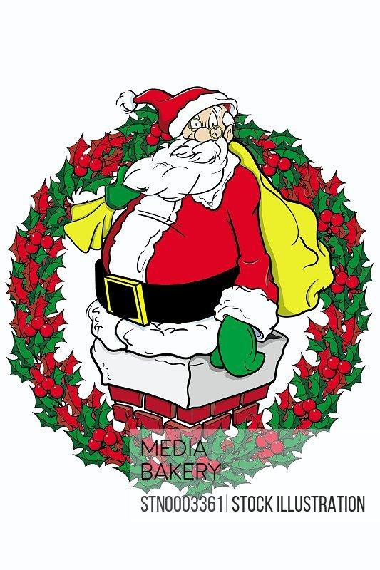 Santa Claus sitting on chimney