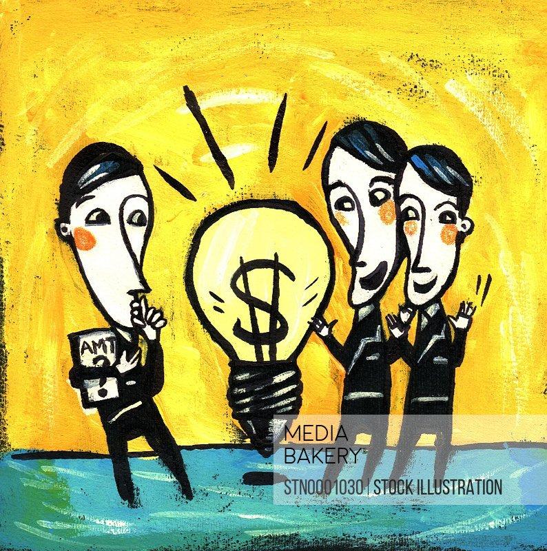 Three men standing around light bulb with dollar sign inside