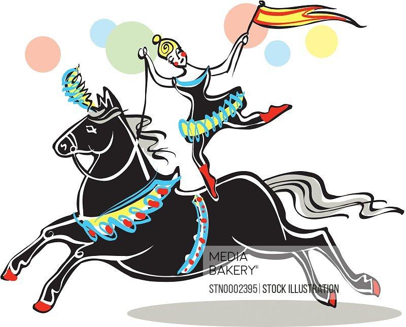 Female acrobat riding horse