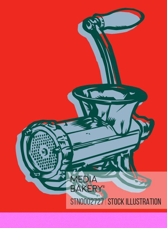 Meat grinder on red