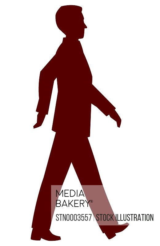 Silhouette of walking man