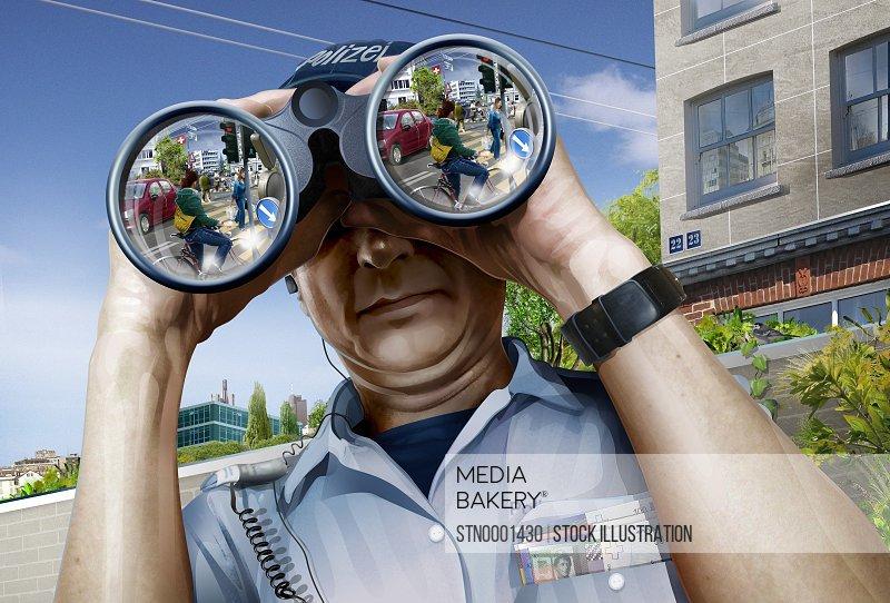 Police officer looking through binoculars