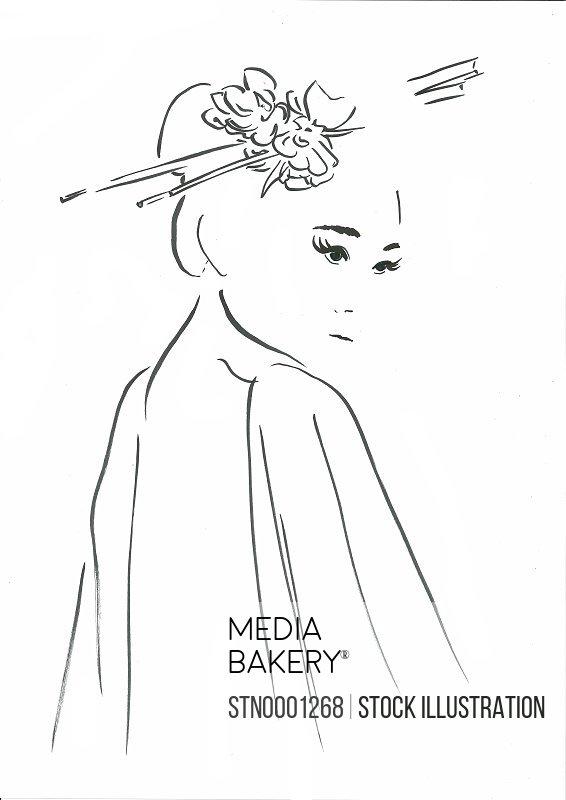 Portrait of woman wearing hairpins