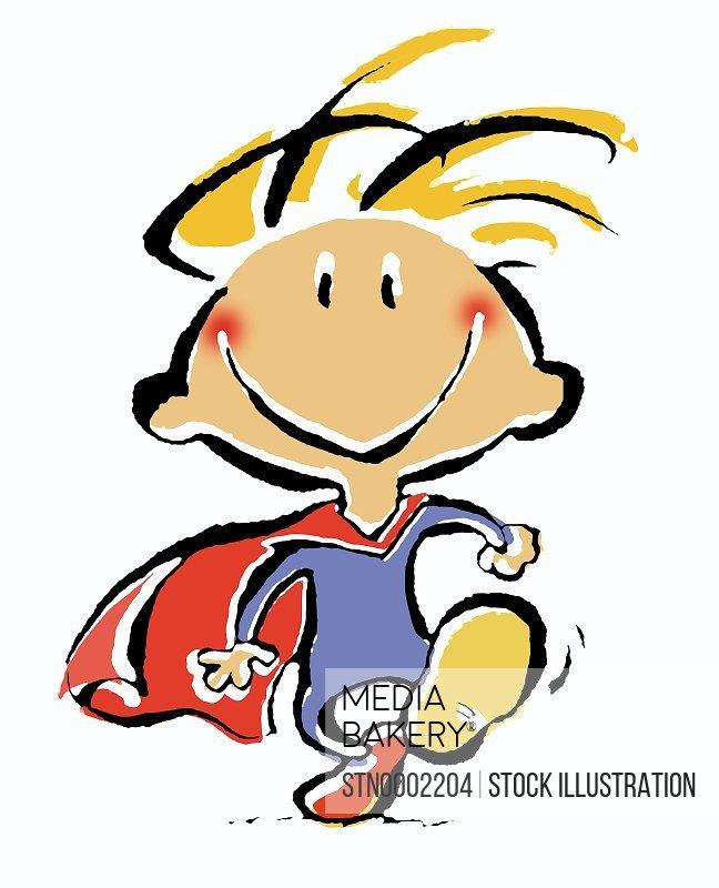 Boy in superhero's costume