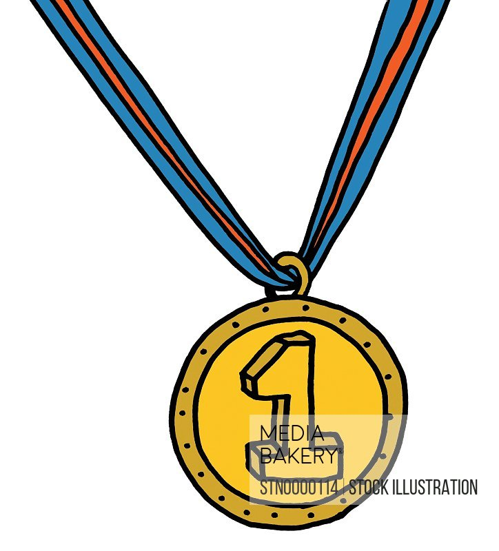 Close up of gold medal with number one on it