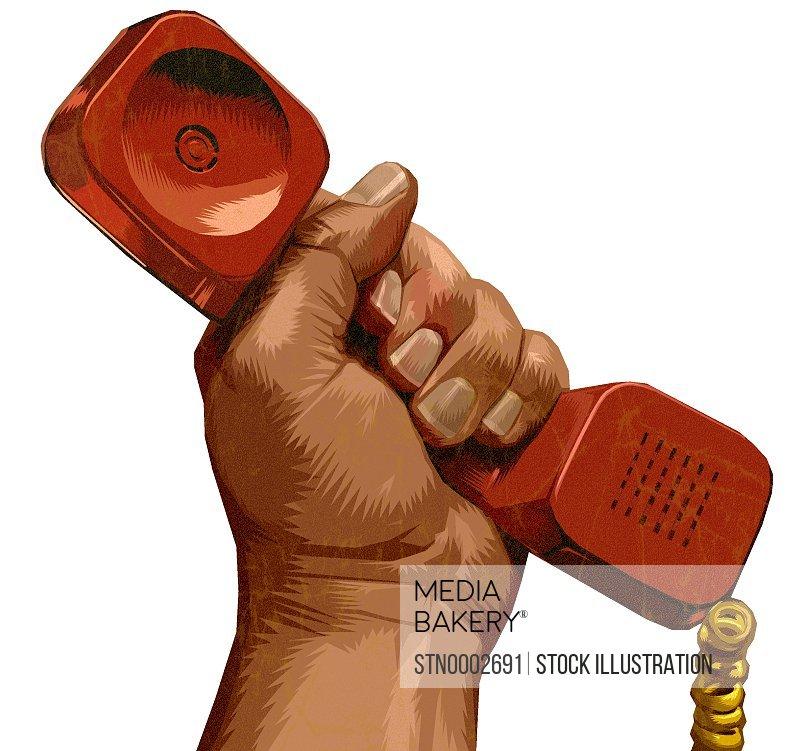 Man's hand raised, holding red telephone handset