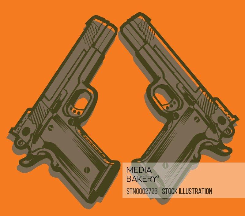 Two handguns on orange