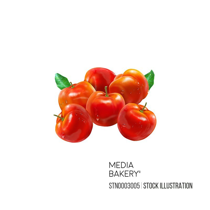 Close up of red tomatoes on white background