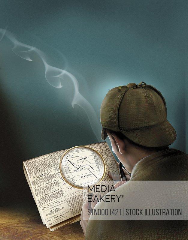 Sherlock Holmes reading newspaper through magnifying glass