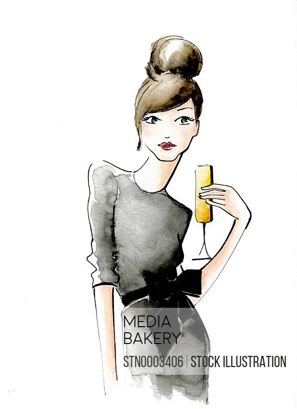 Portrait of woman with hair bun and glass of champagne