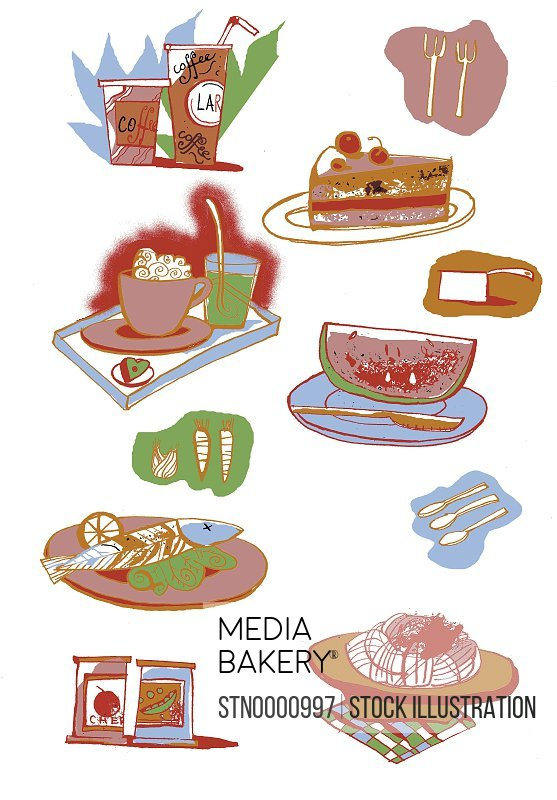 Different kinds of food on white