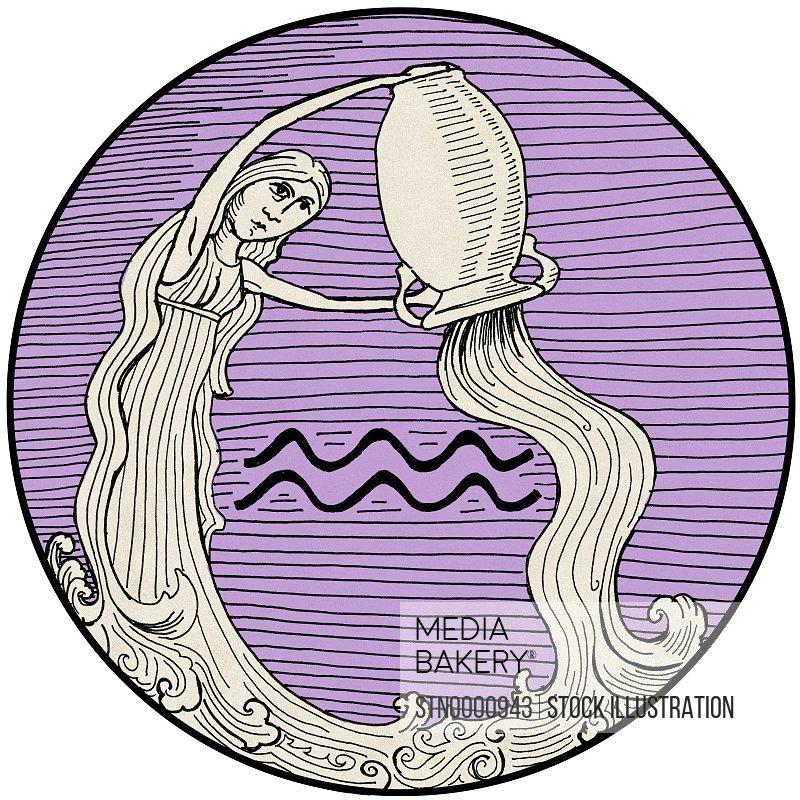 Aquarius, purple round astrology sign