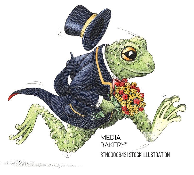 Running frog in suit