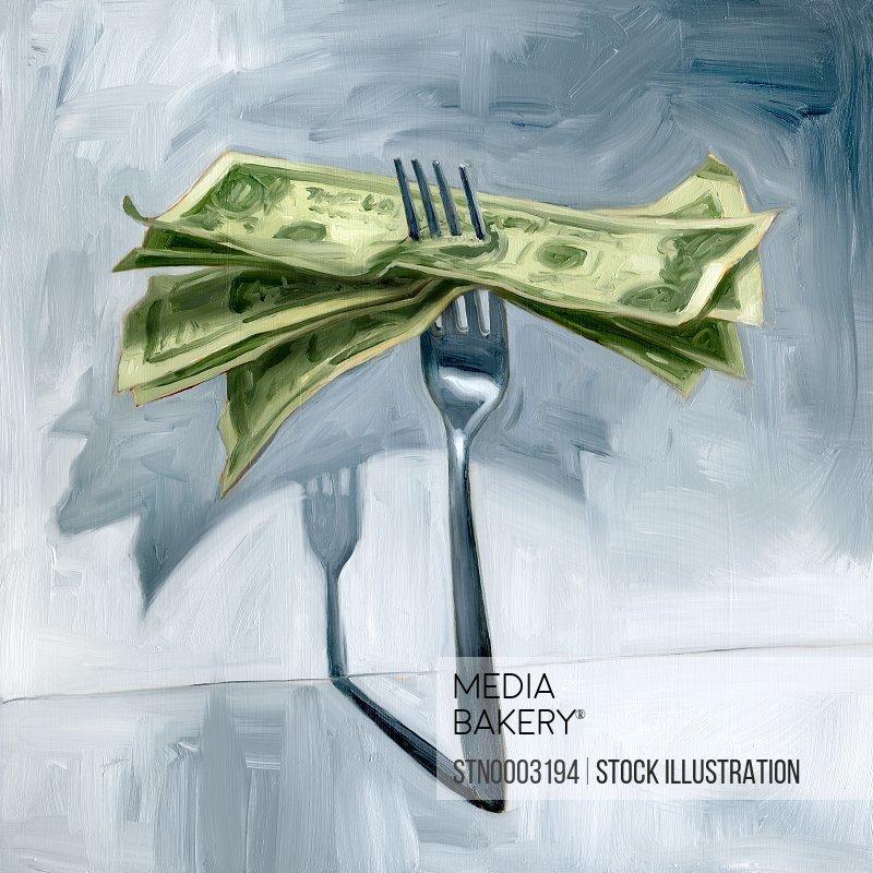 Money on fork