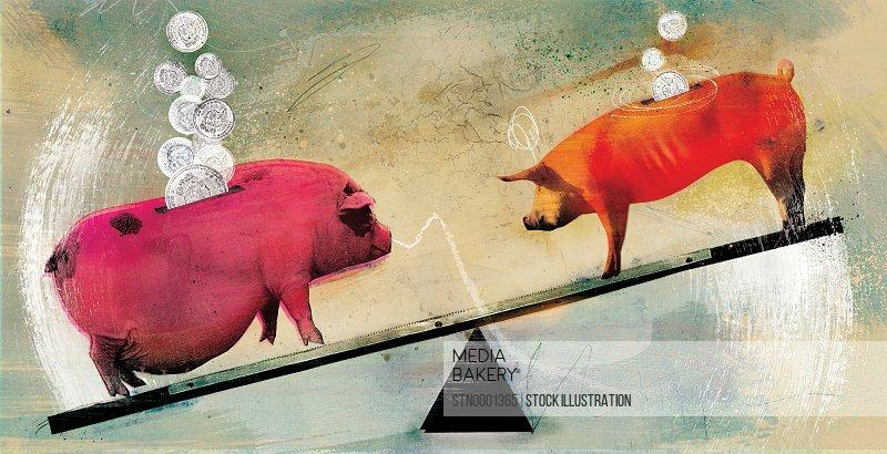 Piggy banks balancing on seesaw