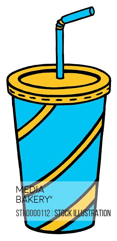 Disposable cup for drink with straw