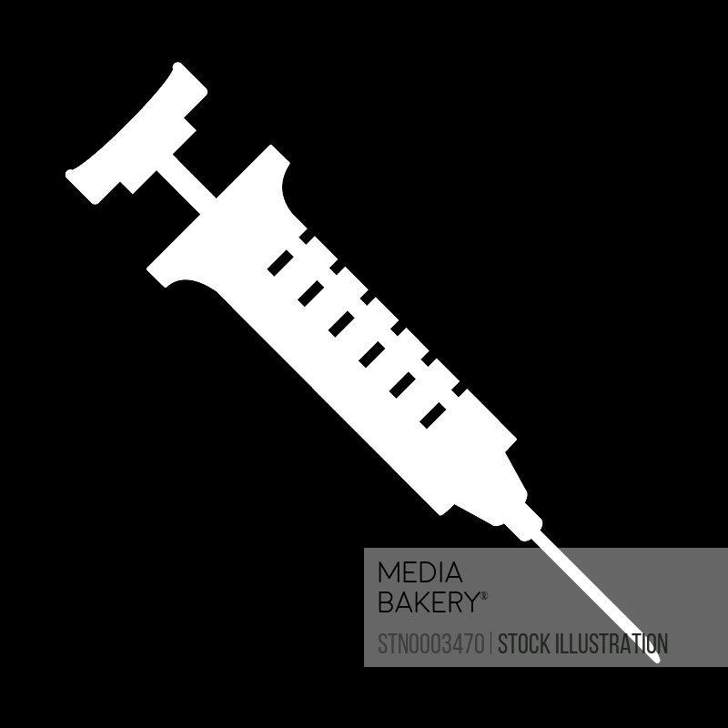 Syringe on black background