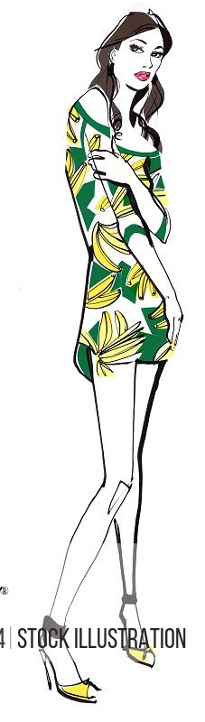 Young woman in dress with banana pattern on white background