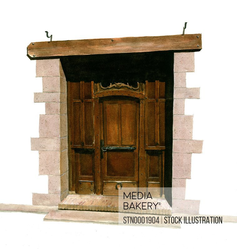 Old wooden door against white