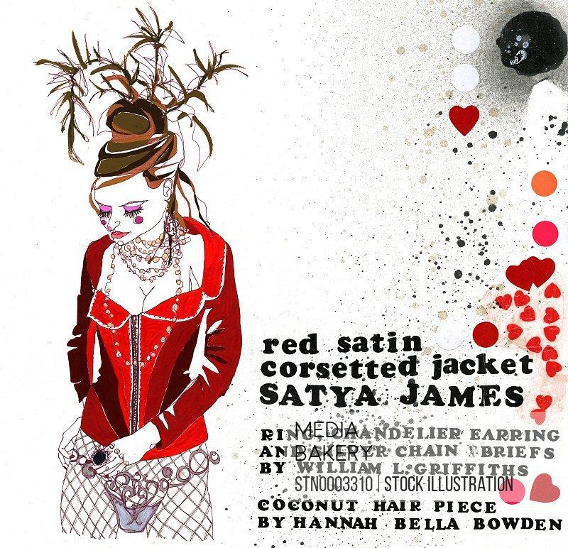 Fashion model wearing red jacket and headdress