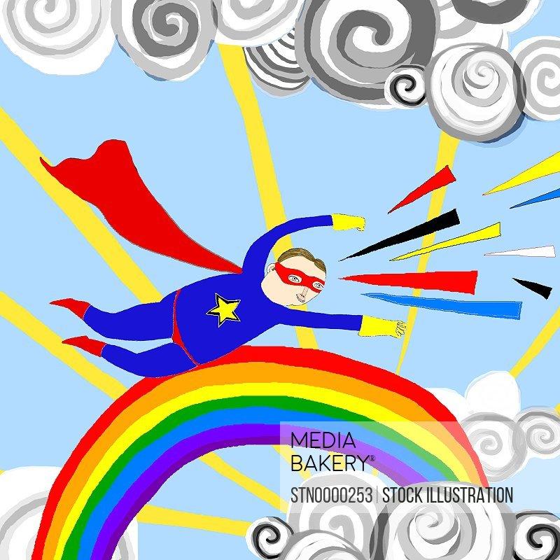 Character flying over rainbow