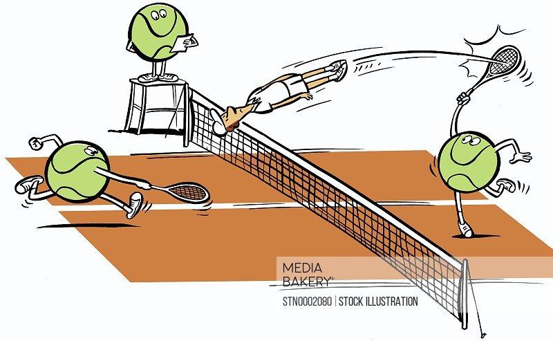 Tennis balls playing with human
