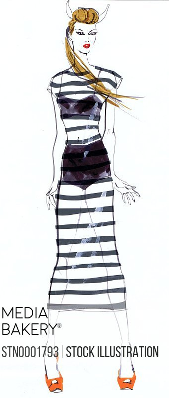 Young woman in striped transparent dress