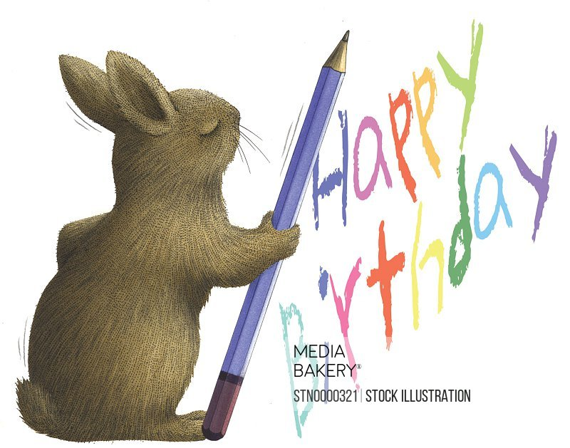 Hare with pencil writing birthday wishes on white background