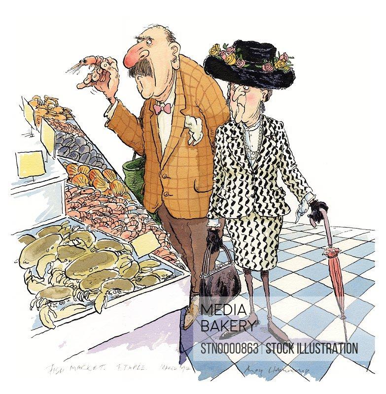 Mature man and senior woman buying seafood