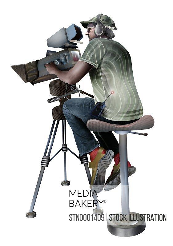 Camera operator sitting on stool