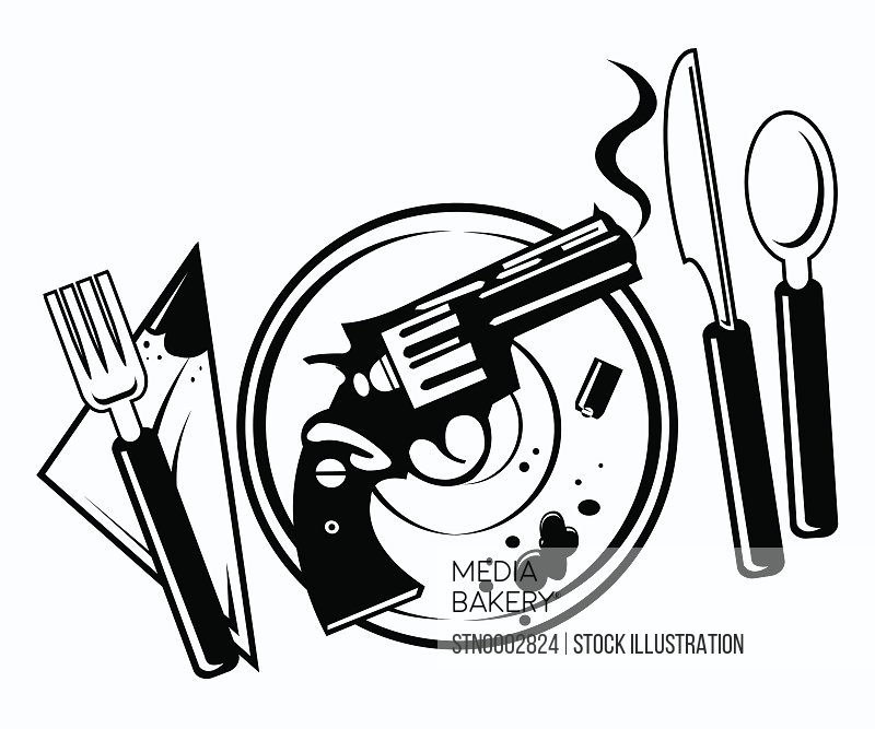 Smoking gun, bullet and blood drop on plate on white