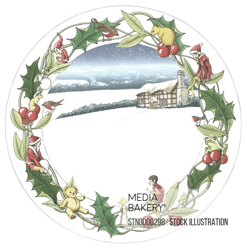 Christmas wreath with view of snowy countryside