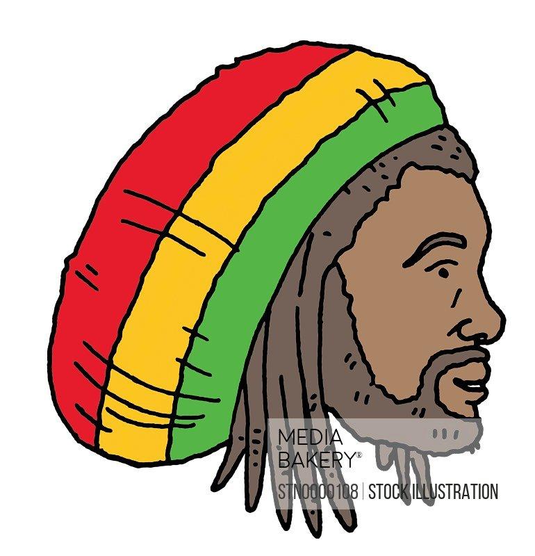 Profile of Rastafarian man