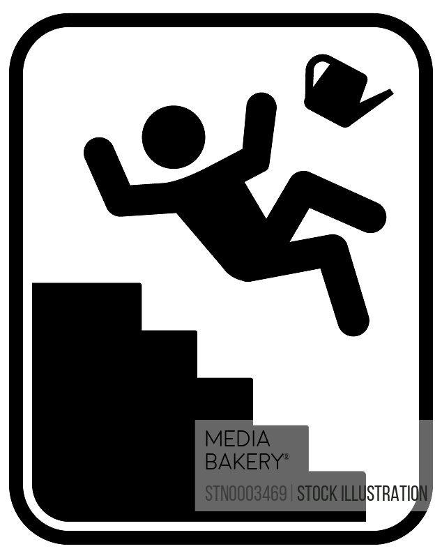Warning sign for slippery steps
