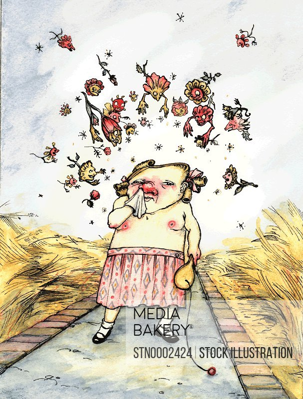 Girl with allergy standing on footpath and sneezing