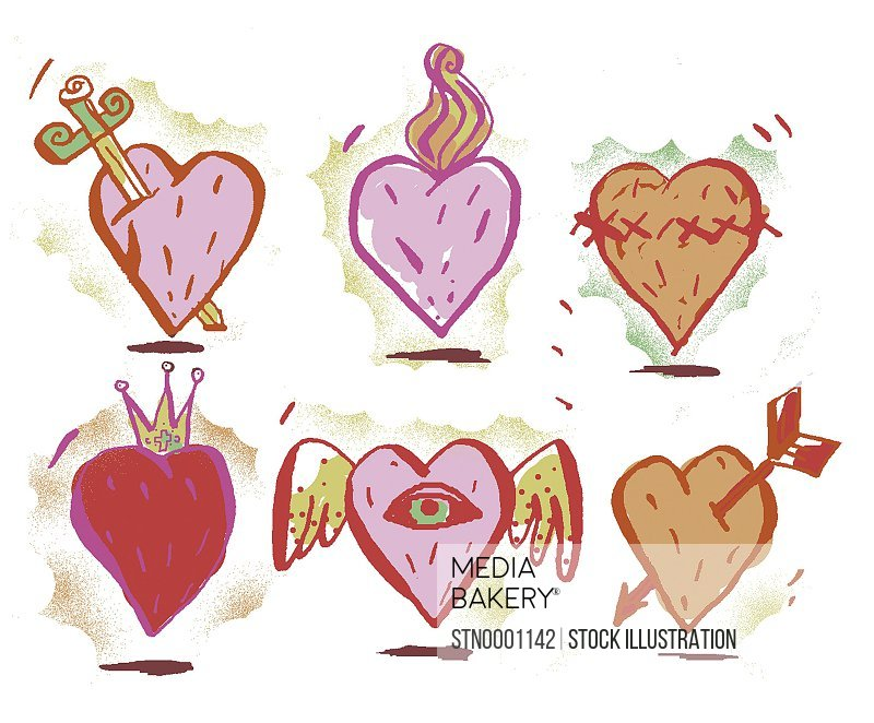 View of various heart shapes