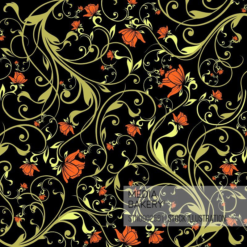 Green and red floral pattern on black
