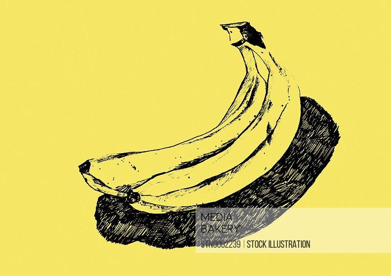 Bananas on yellow background